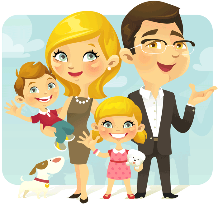 cartoon illustration family with parents 2 kids and a dog
